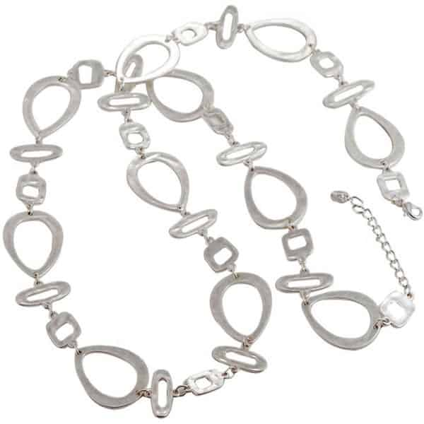 Unique costume jewellery silver plated large abstract shape link long length necklace.
