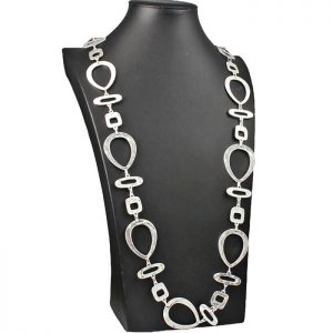 costume jewellery silver plated large shape link long length necklace.
