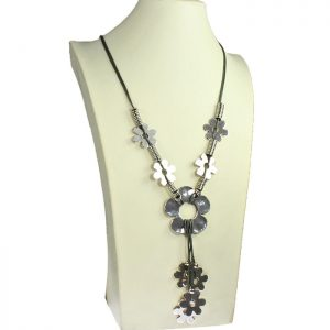 Quirky flower antique silver tone style grey leather cord long necklace