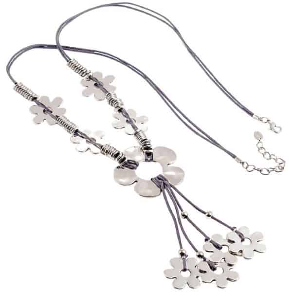 Lagenlook quirky flower antique silver tone style grey leather cord long necklace