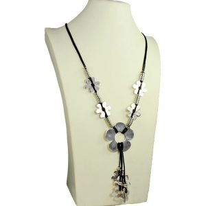 Lagenlook quirky flower antique silver tone style black leather cord long necklace