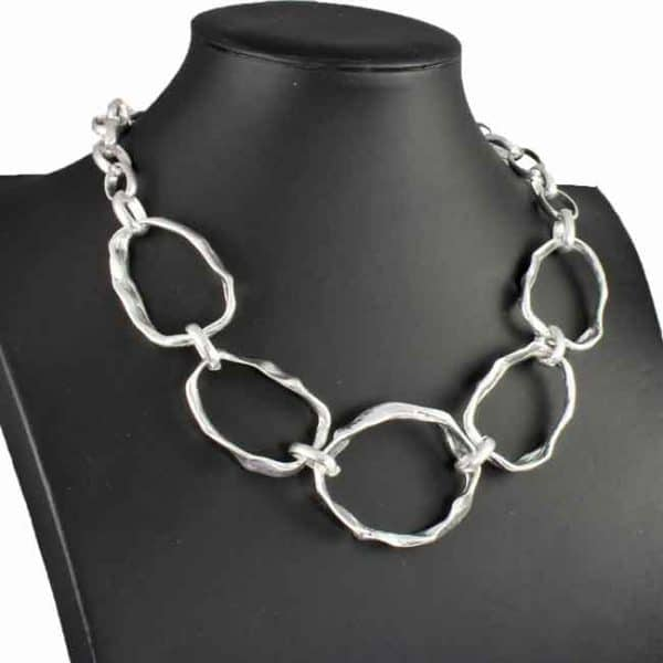 Chunky multiple graduated hammered silver colour choker necklace