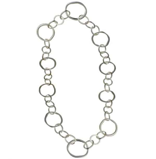 Silver large irregular shape and unusual round link long length necklace