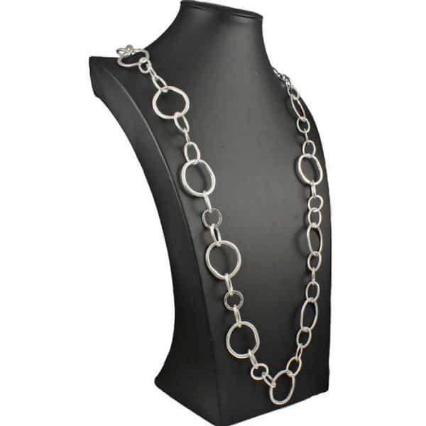 Silver plated with large irregular shape and unusual round link long fitting length necklace