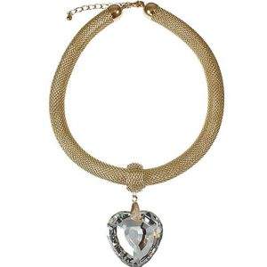 Large chunky heart crystal gold plated mesh choker necklace