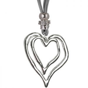 silver double heart long grey suede necklace