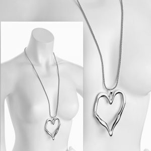 silver large heart pendant long necklace costume jewellery