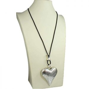 silver large heart long black leather necklace
