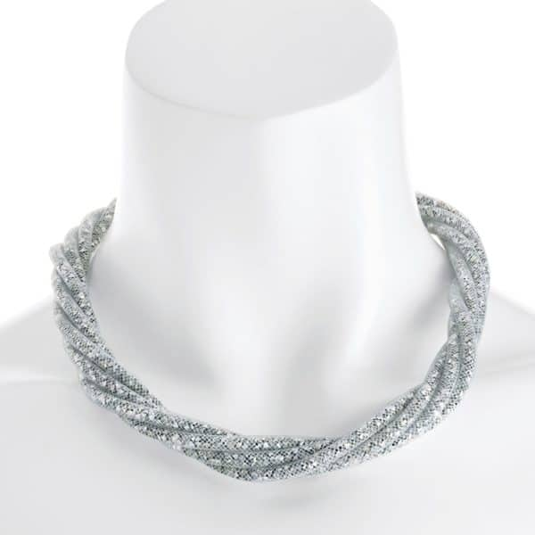 silver crystal mesh wrap twist rope chain choker necklace with a magnetic clasp