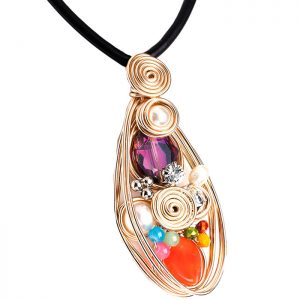 Costume jewellery multicolour stones large gold colour pendant on a black rubber cord choker necklace