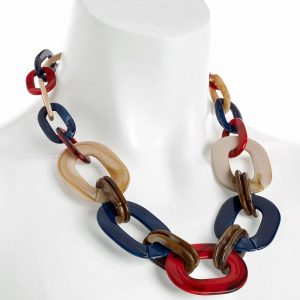 Multicoloured resin large oval link trendy choker necklace costume jewellery