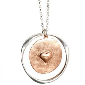 Costume jewellery matte rose gold and silver colour heart large round necklace