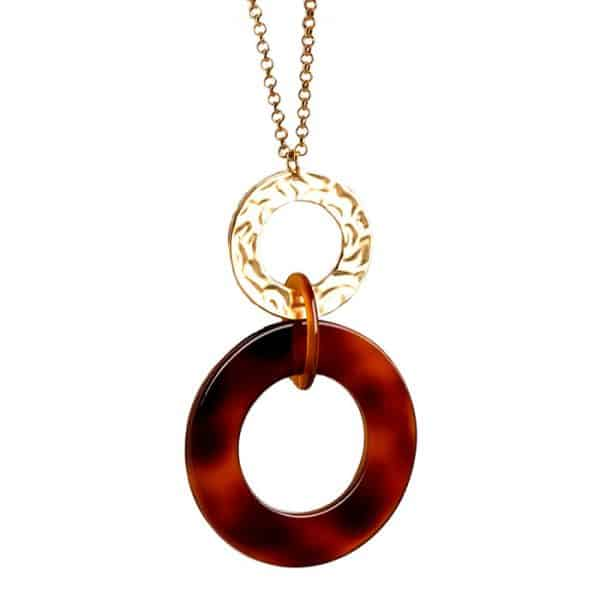 Lagenlook matte gold tone and brown resin large round pendant long necklace costume jewellery