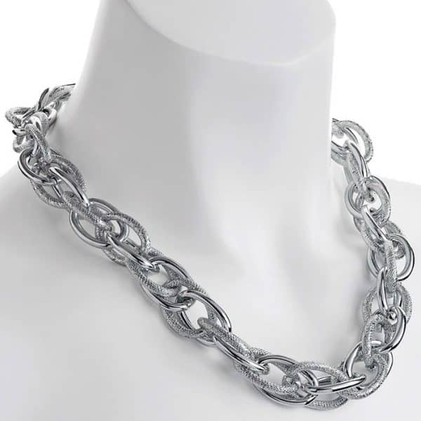 silver rope chain choker necklace