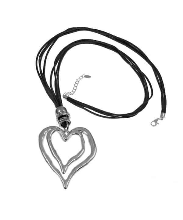 lagenlook large double heart pendant necklace