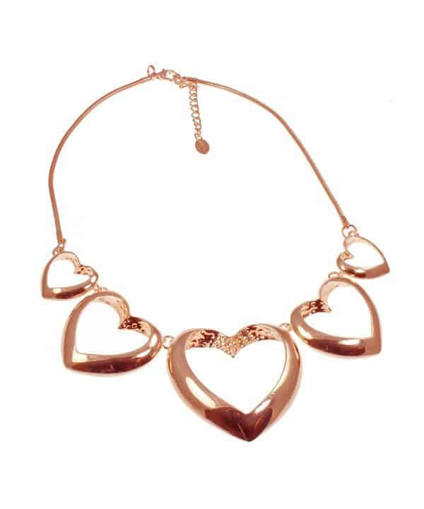 Shiny rose gold large graduated linked heart valentine's choker statement necklace