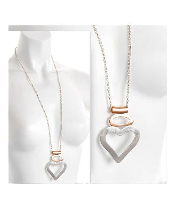 silver rose gold heart necklace