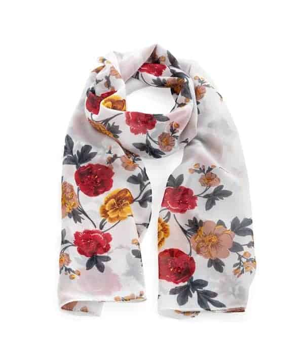 Red, yellow & white colour flower with leaf print fashion scarf