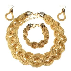 gold braided necklace jewellery set
