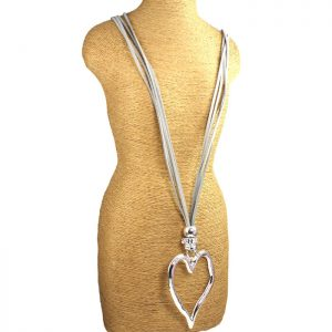 fashion jewellery lagenlook large heart silver necklace