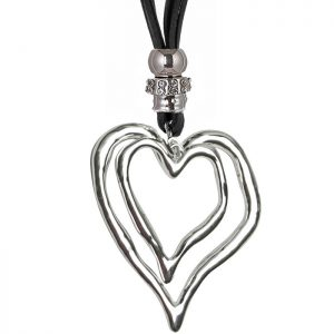 Silver double heart black suede necklace