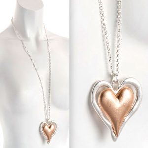 Lagenlook silver and rose gold matte finish double heart pendant long necklace