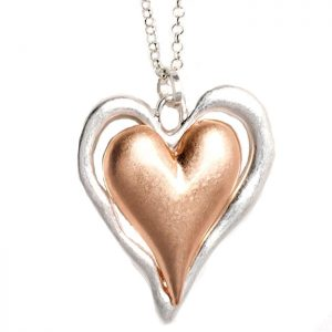 Fashion jewellery lagenlook silver and rose gold matte finish double heart pendant long necklace