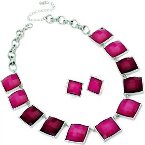 Women's two tone fuchsia pink colour square stone on a belcher chain necklace jewellery set