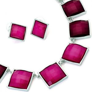 Fashion jewelry two tone fuchsia pink colour square stone on a belcher chain necklace jewellery set