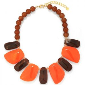 Colourful chunky bead and irregular shape acrylic resin tribal statement choker necklace