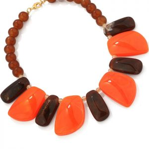 fashion jewellery chunky bead and irregular shape acrylic resin tribal statement choker necklace