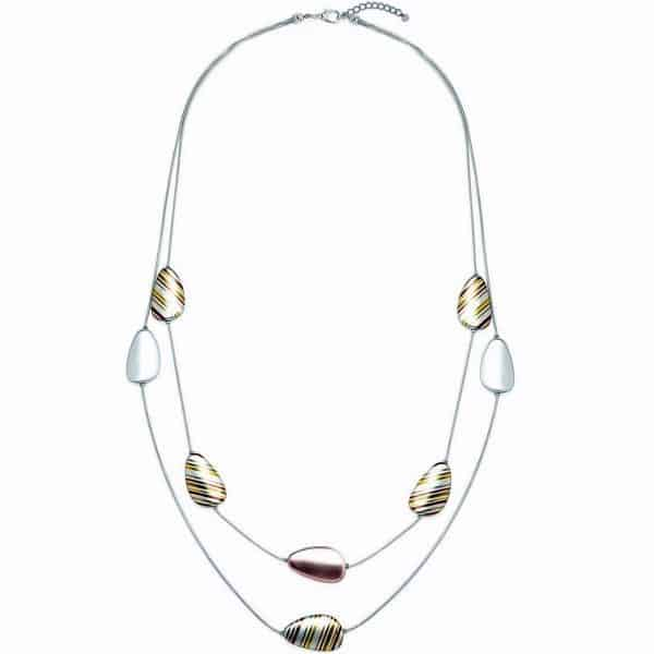 costume jewellery with a pebble stripe design on two strand long silver necklace