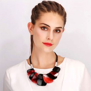 tribal fashion jewellery with colourful chunky acrylic plates on a black cord choker necklace