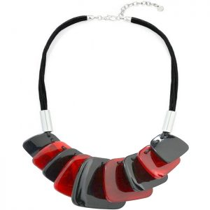 women tribal fashion jewellery with colourful chunky acrylic plates on a black cord choker necklace