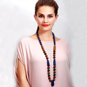 Exceedingly long fitting colourful acrylic beaded fashion jewellery necklace