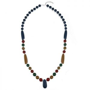 Long fitting colourful acrylic beaded fashion jewellery necklace