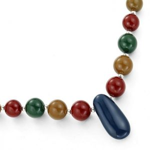 Exceedingly long fitting colourful acrylic beaded fashion jewelry necklace