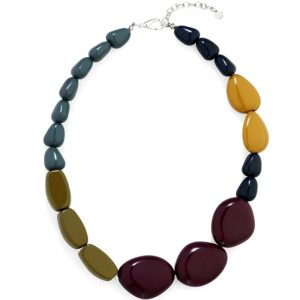 Fashion jewellery colourful chunky acrylic pebble style choker necklace