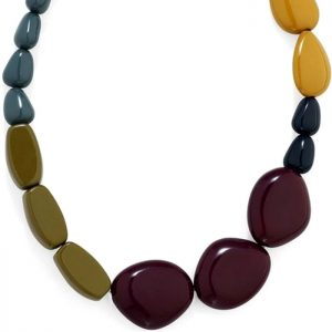Costume jewellery colourful chunky acrylic pebble style choker necklace