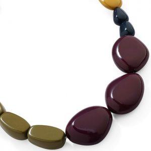 Fashion jewelry colourful chunky acrylic pebble style choker necklace
