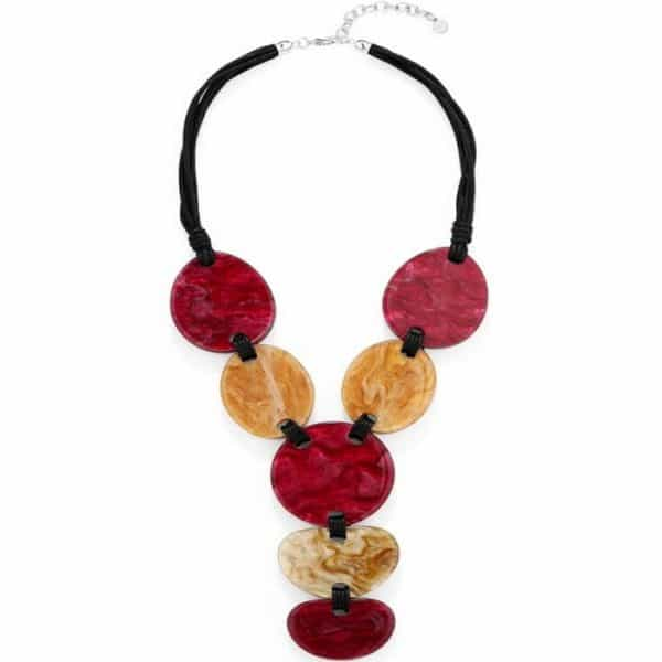 Red and brown chunky shape acrylic resin tribal statement choker necklace