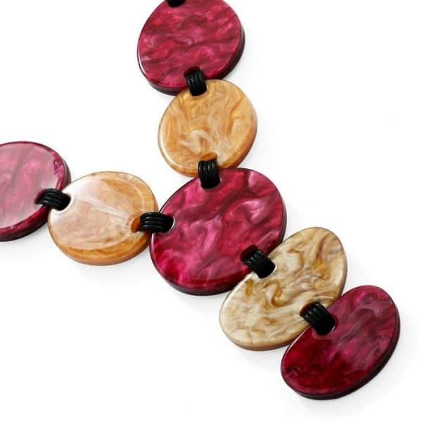 fashion jewelry red and brown chunky shape acrylic resin tribal statement choker necklace