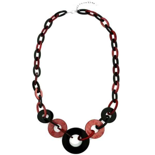 Colourful acrylic hoop style long fitting fashion jewellery necklace