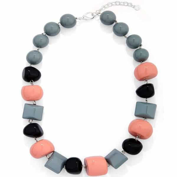 Black, grey and pink chunky bead with irregular shape acrylic resin choker necklace