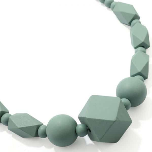 Women's pastel green colour beaded wood necklace