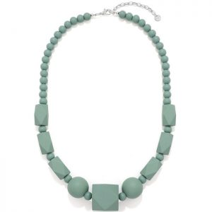Women's pastel green colour bead wood necklace