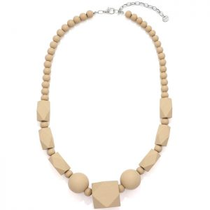 Women's pastel beige colour bead wood necklace
