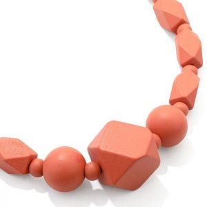 Women's pastel pink colour bead wood necklace