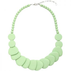 Women's layered pastel green colour shaped disc wood necklace