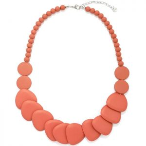 Women's layered dark orange tone shaped disc and bead made from a lightweight wood necklace